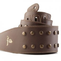 Correa con tachitas boton bronce viejo cuero marron.