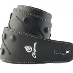 Correa con tiento y tachas boton negras /cuero negro