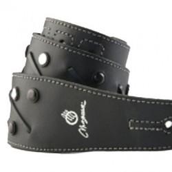 Correa con tiento tachas boton negro plateado /cuero negro