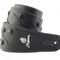 Correa con tiento y tachas boton negro /cuero negro