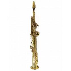 Saxo soprano dorado doble cuello, estuche