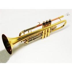 Trompeta Bb dorada con estuche de cuero
